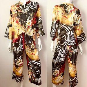 Natori Animal Floral Print Pajama Set Large